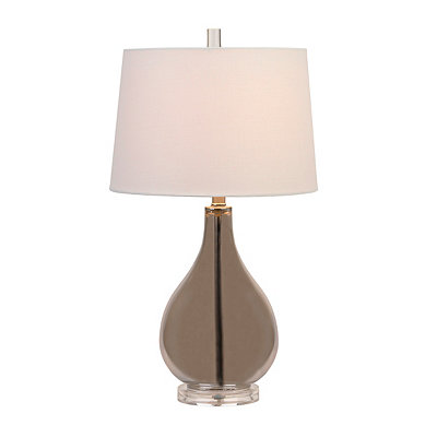 Gray Glass Bottle Table Lamp
