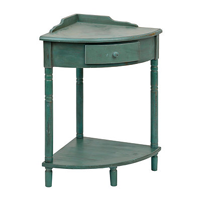 Distressed Turquoise Wooden Corner Table