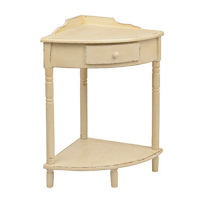 Distressed Cream Wooden Corner Table