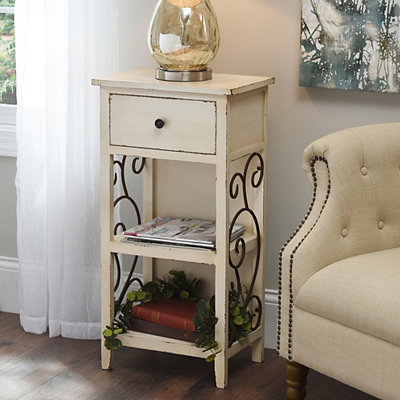 Ivory Scroll 2-Shelf Side Table