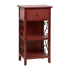 Red Scroll 2-Shelf Side Table