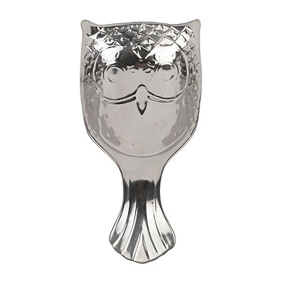 Metallic Silver Owl Spoon Rest