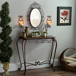 Adelyn Console and Accessories, Set of 4