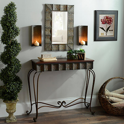 Bransen Distressed Copper Console Table, Set of 4