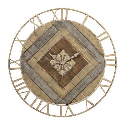 Camden Wood Plank and Metal Clock