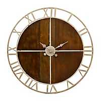 Henderson Natural Wood Plank and Metal Clock