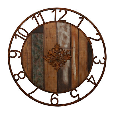Franklin Wood Plank and Metal Clock