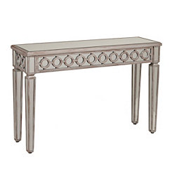 Driftwood Circles Mirrored Console Table