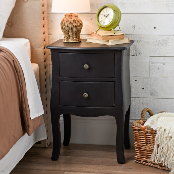 Black Bombay 2 Drawer Accent Table