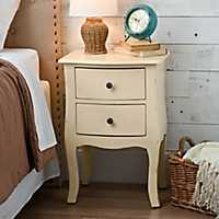 Butter Cream Bombay 2-Drawer Accent Table
