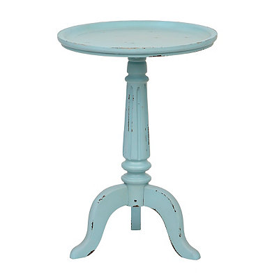 Distressed Turquoise Pedestal Table