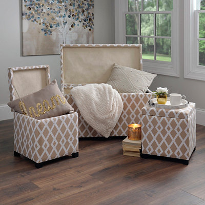 Tan Lattice Storage Trunk and Ottomans, Set of 3