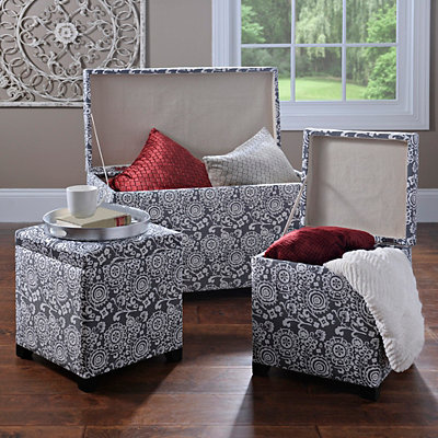 Pewter Suzani Storage Trunk and Ottomans, Set of 3