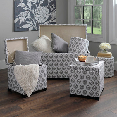 Ikat Storage Trunk and Ottomans, Set of 5