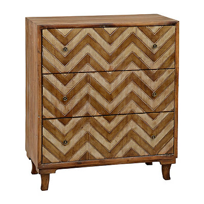 Rustic Chevron 3-Drawer Chest