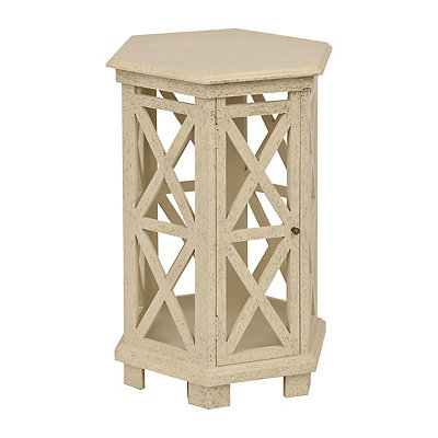 Cutout Hexagon Wooden Side Table