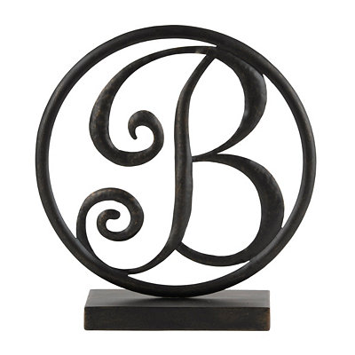 Round Black Metal Monogram B Statue