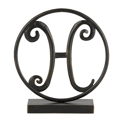 Round Black Metal Monogram H Statue