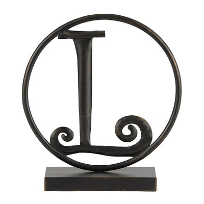 Round Black Metal Monogram L Statue