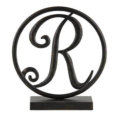 Round Black Metal Monogram R Statue