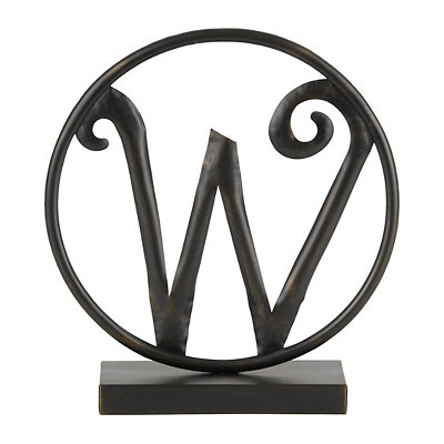 Round Black Metal Monogram W Statue