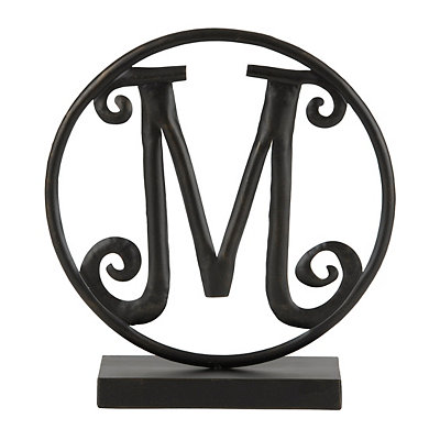 Round Black Metal Monogram M Statue