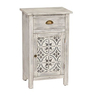 Distressed White Farmhouse Side Cabinet