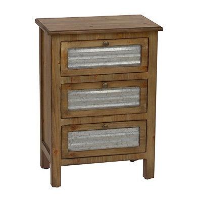 Galvanized Metal 3-Drawer Storage Side Table