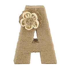 Wrapped Rope Burlap Monogram A Statue