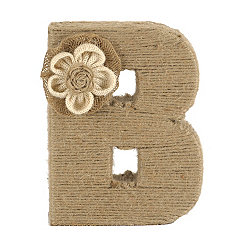 Wrapped Rope Burlap Monogram B Statue