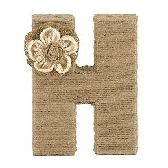 Wrapped Rope Burlap Monogram H Statue