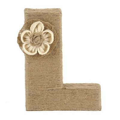 Wrapped Rope Burlap Monogram L Statue
