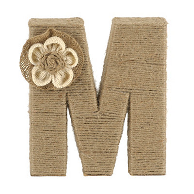 Wrapped Rope Burlap Monogram M Statue