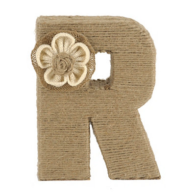 Wrapped Rope Burlap Monogram R Statue