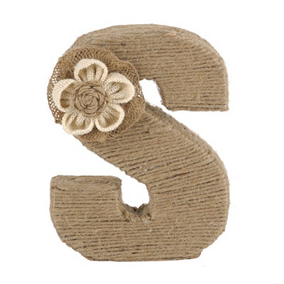 Wrapped Rope Burlap Monogram S Statue
