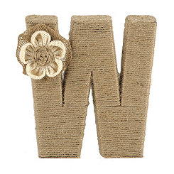 Wrapped Rope Burlap Monogram W Statue