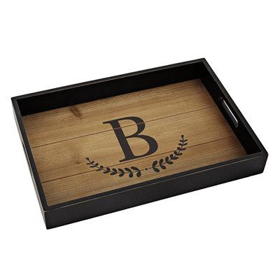 Olive Branch Monogram B Wood Tray