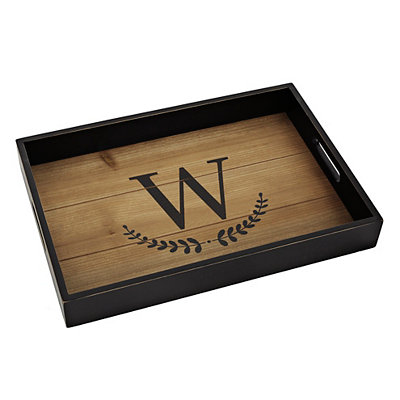 Olive Branch Monogram W Wood Tray