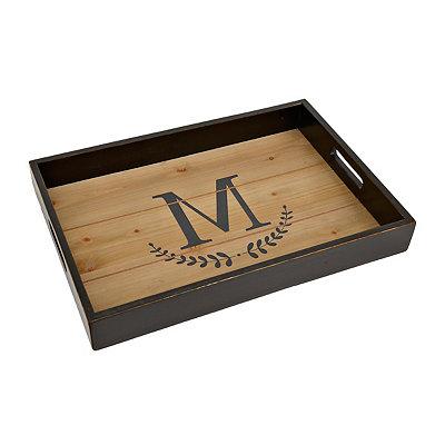 Olive Branch Monogram M Wood Tray