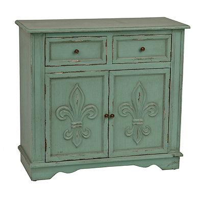 Turquoise Fleur-de-Lis Double Cabinet