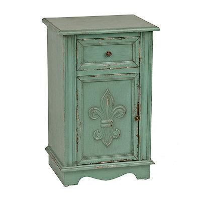 Turquoise Fleur-de-Lis Cabinet