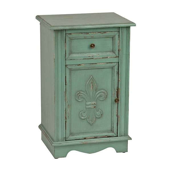 turquoise fleurdelis cabinet