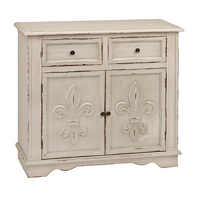 Antique White Fleur-de-Lis Double Cabinet