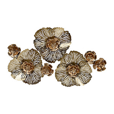 Gold Glam Floral Metal Plaque