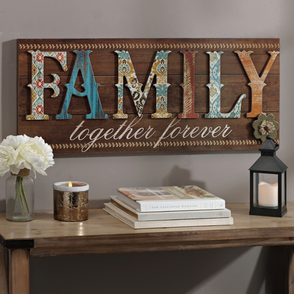 Patchwork Family Wood Plank Plaque