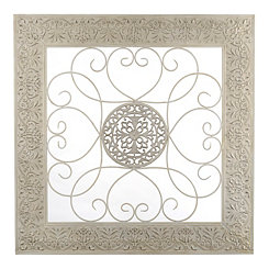 White Embossed Scroll Metal Plaque