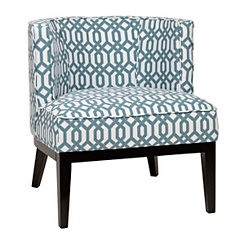 Tory Aqua and White Tub Chair