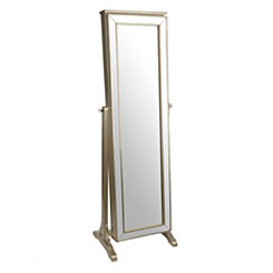 Audrey Antique Silver Jewelry Armoire Mirror