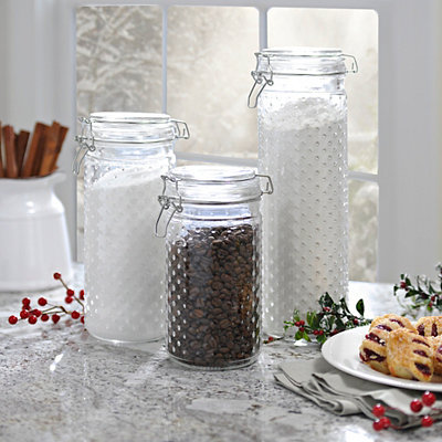 Hobnail Glass Canisters, Set of 3