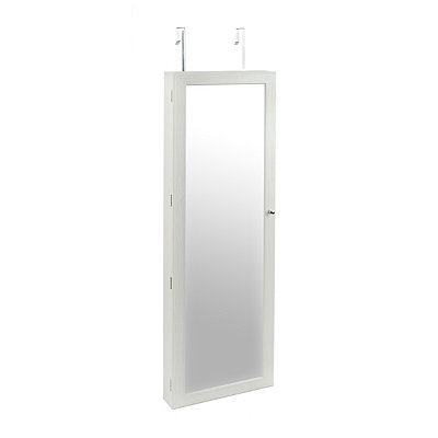 White Veneer Over-the-Door Jewelry Armoire Mirror